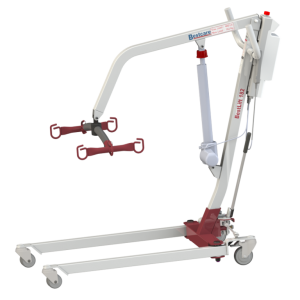 Bestcare PL182 Patient Lift in white, profile shot. The lift is in its lowest position, usually reserved for getting at patient out of low bed.