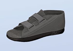 FLA C3 Post Op Shoe w/Microban. Black shoe, open toe, with two velcro straps for width adjustments.
