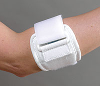 FLA Canvas Tennis Elbow Strap. The strap is all white with a white adjustment strap. Worn by a model, just above the model's elbow.