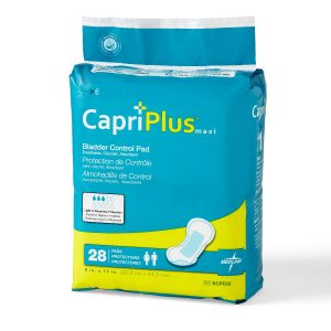 "Medline Capri Plus Bladder Control Pads. A turquoise package with gold accents. 28 pack of 8"" x 17"" pads."