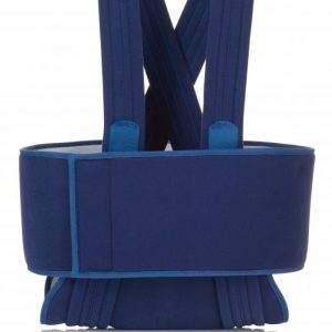 FLA Prolite Deluxe Sling and Swathe in blue. The swathe has a wrap around belt that is about 6 inches high and two shoulder straps that are about an inch across. The waist band holds the arm pad in place, as it works with velcro.