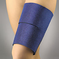 "FLA EZ-On Neoprene Thigh Wrap. The image shows a model's knee covered by two blue wraps, each about 4"" in diameter."