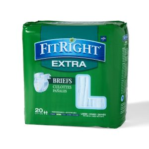 "Medline FitRight Extra Briefs. A green package with a grey and white ""Fitright Extra"" Logo. 20 pack in the large size."
