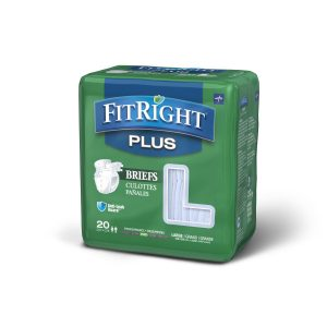 "Medline FitRight Plus Briefs. A green package with a grey and white ""Fitright Plus"" Logo. 20 pack in the large size."