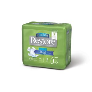 "Medline FitRight Restore Super Briefs. A green package with a grey and white ""Restore"" Logo. 20 pack in the large size."