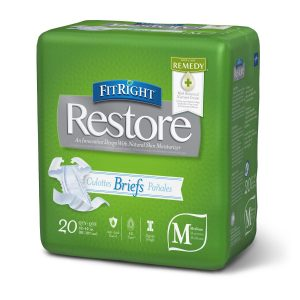"Medline FitRight Restore Ultra Briefs. A green package with a grey and white ""Restore"" Logo. 20 pack in the medium size."