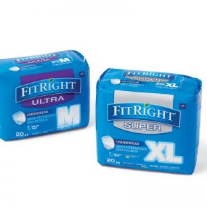 Medline FitRight Ultra Protective Underwear. A picture of Medline fitright underpads. The left is a 20 pack of Medium ultra briefs. The right is a package of fitright super xl size briefs in a 20 pack. Both packages are blue with grey accents.