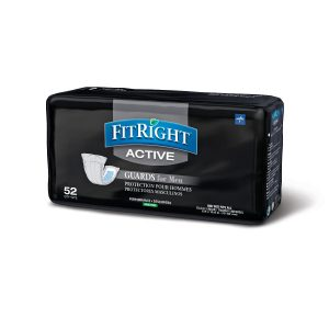 "Medline FitRight Active Guards for Men. Black package with a blue and gray logo. 52 pads, 5.9"" x 12.6"" size."