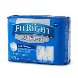 Medline FitRight Super Protective Underwear. A picture of a 20 pack of fitright super briefs in the medium size. Blue package with gray accents.