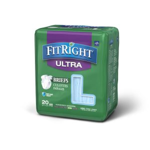 "Medline Fit Right Ultra Briefs. A green package with a grey and white ""Fitright Ultra"" Logo. 20 pack in the large size."