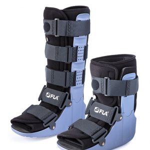 FLA Adjustable Air Ankle Walker both versions on a white background. The left boot is a knee high boot--2 black foot straps and 3 black leg straps around a black and blue boot. The right boot is an ankle high boot--one foot strap, one ankle strap and one shin strap on a blue and black boot.