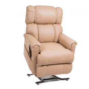 Golden Imperial Lift Chair Motorized Fully Electric lift chair recliner. The picture shows an imperial in the Brisa Buckskin material in the upright position.