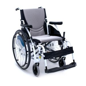 Karman S-Ergo 115 Ultra Lightweight Wheelchair Alpine White. A snow-white, lightweight wheelchair. The back wheels are spoked, like a bike. The wheelchair seat is black with a large gray back and seat cushion.