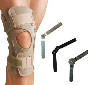 Thermoskin ROM Knee Brace Open Wrap. A model wears this tan on tan brace with an open patella and adjustable straps. Floating next to the models knee are the hinges used for side support in this brace.