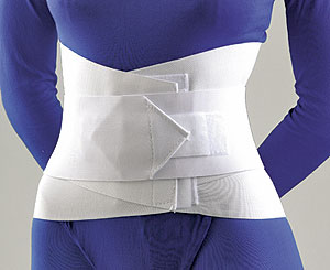"FLA Lumbar Sacral Support w/Overlapping Abdominal Belt 10"". A female model in all blue wearing the white support, which stretches from the pelvis to the mid-torso. The belt is all white."