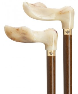 Harvy Marble Grip Walnut Cane. An ergonomic, faux-ivory handle is separated from a walnut shaft by a gold ring.