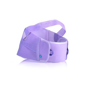FLA Maternity Support Belt, white brace on white background. A 6 inch high belt, the front has a 4 inch strap to put under the belly and a 1 inch strap that goes over the top, for pregnancy support.