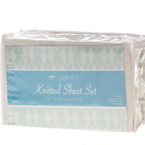Medline Soft-Fit Knitted Contour Sheets package shown against a white background. Baby blue logo, the package contains 1 under and 1 over sheet, along with 1 pillow case.