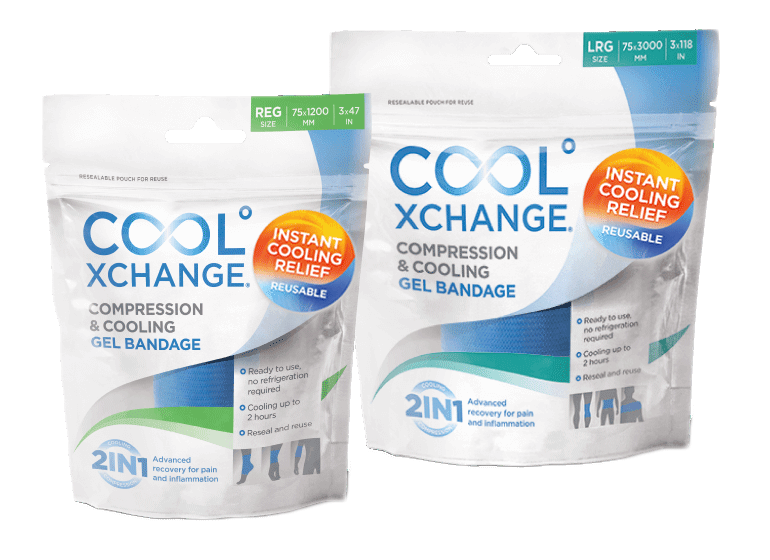 "Cool XChange Cooling Compression Wrap. 3"" x 47"" size next to the 3"" x 118"" size."