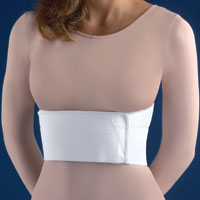 """FLA Premium Woven Two-Panel Surgical Rib Belt. The belt is worn by a female model in a beige shirt. The belt is white, roughly 4"""" tall and wrapped around the model's torso."""