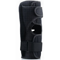 FLA Prolite Airflow Wraparound Hinged Knee Brace--black brace on a white background. there is an opening for the patella and 2 black velcro straps about 6 inches above and below the patella opening.