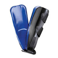 FLA Prolite Easy-Air Pneumatic Stirrup. The stirrup is shown on a white background split into two sides. The outside is black with straps to secure it, the inside is a blue gel pad.