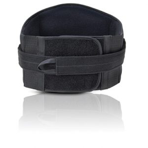FLA Prolite Lo-Plus Lumbar Support, black brace on white background. The belt is about 6 inches wide in the front and 10 in the back, lumbar region. And adjustable black strap goes over the actual belt, for added adjustment options.
