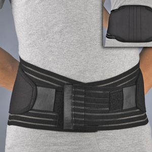"FLA Prolite Neoprene Lumbar Support. A black belt with 2 black adjustment straps is worn around a models waist. There is an inset in the upper right showing the back of the brace, which is around 10"", for more lumbar support."