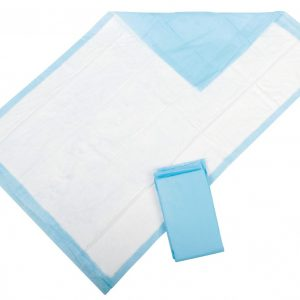 Medline Protection Plus Underpads. An absorbent, white pad is shown on top of the baby blue liner.