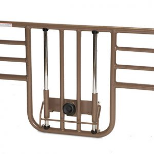Roscoe ProBasics Half Rail for Hospital Bed. The rail is shown floating on a white background. It is beige with silver moving parts and a black clasp.