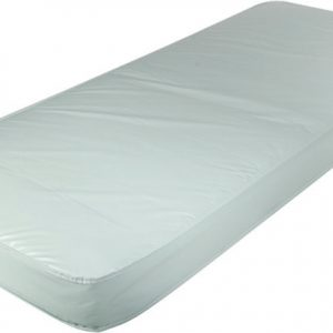 Roscoe II Fiber solid core poly mattress. A generic white mattress on a white background, the mattress is flexed slightly, showing that it will work with hospital beds.
