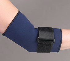 FLA Safe-T-Sport Neoprene Tennis Elbow Sleeve. A blue brace with a black strap in the middle stretches from a model's mid-bicep to mid-forearm.