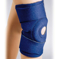 FLA Safe-T-Sport EZ-On Neoprene Knee Wrap. Open patella, The brace is blue and stretches from 4 inches below the knee to the mid-thigh. 2 adjustment straps are just above and below the knee.
