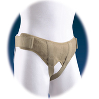 FLA Soft Form Hernia Belt. A white mannequin wears the tan hernia belt with both straps locked in under the groin.