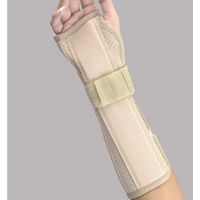 FLA Perforated Suede Finish Wrist and Forearm Splint. A beige brace stretches from the middle of the model's hand down to the mid-forearm.