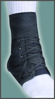 FLA Swede-O Inner Lok 8 Ankle Brace over a model sock. The brace is all black, with athletic laces. Stretches from mid-foot to just above the ankle.