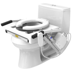EZ Access TILT Toilet Incline Lift shown resting on a non-descript, white toilet. The hand control hands to the side, resting just in front of the motor mechanism.