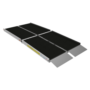 EZ Access Trifold Ramp. An 8 foot, transportable ramp that folds both horizontally and vertically. Black sand paper finish on the top size deals with wear and tear.
