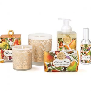 Cosmetics category image. The image shows a pear scented theme from Michele Designs. From left to right: Soap box (back rown), small candle (front row), large candle (back), bar of soap (front), foaming soap bottle (back), scented spray (middle row).