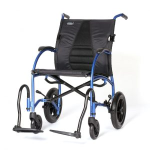 Strongback Excursion 12 Transport Chair in blue, on a white background.