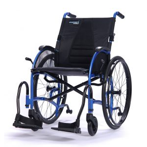 Strongback mobility 24 Wheelchair in blue, on a white background.