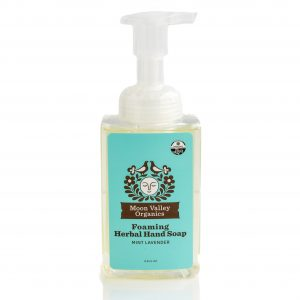 Moon Valley Organics Herbal Foaming Hand Soap on a white background. Light blue label.