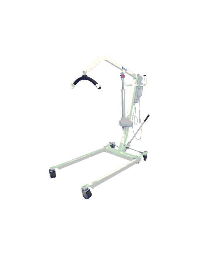 Electric patient lift manufactured by bestcare, on a white background. Example photo of our rental model (same as what is pictured).