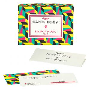 Ridley's Games 80s Pop Music Quiz. Picture shows board in fore ground, box in background. White background.