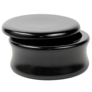 Parker BLSB Black Mango Wood Shave Bowl on white background. The lid is slightly open.