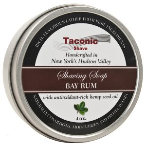 Taconic Shave Soap 4oz Bay Rum on white background.
