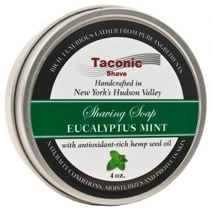 Taconic Shave Soap 4oz Eucalyptus Mint on white background.