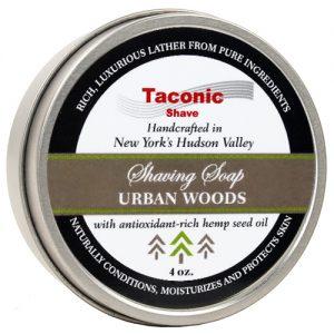 Taconic Shave Soap 4oz Urban Woods on white background.