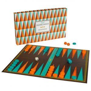 Ridley's Games Backgammon. Picture shows board in fore ground, box in background. White background.