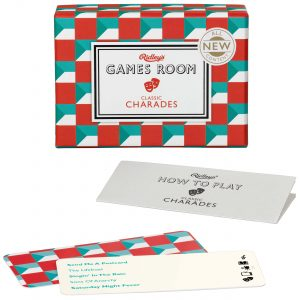 Ridley's Games Classic Charades V2.0. Picture shows board in fore ground, box in background. White background.